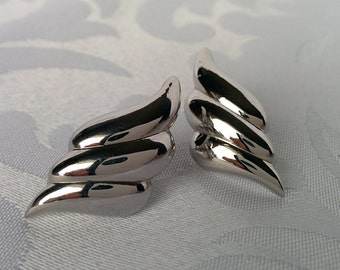 Vintage Oscar de la Renta Earrings Silver Tone