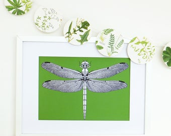 Dragonfly Print, Dragonfly drawing, Greenery art print, dragonfly illustration