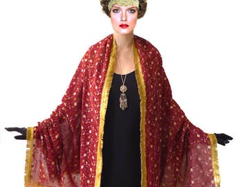Art Nouveau Burdundy Rich Shawl, Gold Royal Maroon Stole, large Scarf Embroidered Embroidery Sequin Red Fringe Bridal wrap Evening Formal