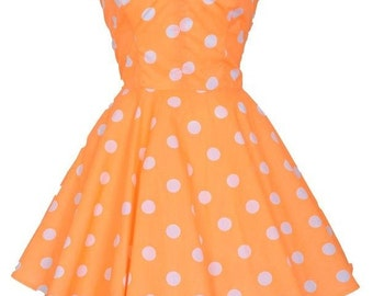 Clearance Sale Pin-up Orange Polka Dot Prom Party Dress
