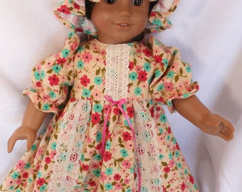Eighteen Inch doll nightgown and cap