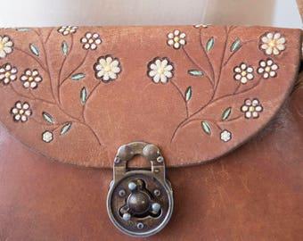 Tooled Leather Purse, Tooled Leather Bag, Floral Retro Bag, Hippy Purse, Genuine Leather Purse