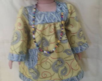 70's pasley yellow and blue dress for 18 inch american girl doll