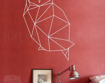 Geometric Owl Wall Decal, Geometric Animals Decor, Owl Wall Art Removable Sticker Australian Made