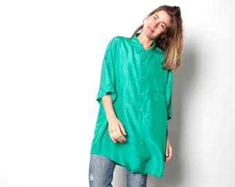 kelly green vintage 80s 90s OVERSIZE large SLOUCHY SILK short sleeve blouse