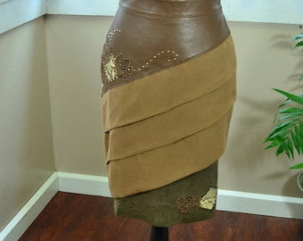 Vintage Brown Leather and Linen Pencil Skirt with Snakeskin - S