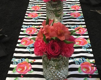 Stripe Table Runner, Black and White Stripe with Floral, Wedding, Shower, Party, Home Decor, Custom Size Available