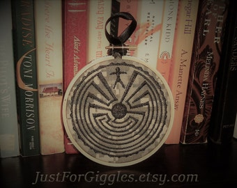 Man in the Maze on camo embroidered in 4 in wooden hoop, ready to hang Tohono O'odham Native American legend encouragement gift 22 a day