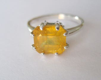 Sunshine - Natural Yellow Sapphire In Sterling Silver Ring, 4.07ct. Size 6.75-7