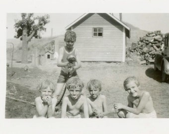 "Vintage Photo ""Time to Get WET"" Snapshot Antique Photo Old Black & White Photograph Found Paper Ephemera Vernacular - 48"