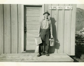 "Vintage Photo ""Mr. Webster and the Filing House"" Snapshot Antique Photo Old Black & White Photograph Found Paper Ephemera Vernacular - 142"