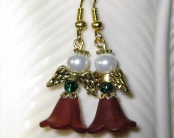 Christmas Angel Earrings Green Glass Bead, Red 5-petal Flower, Czech Glass Pearl Gold Wings