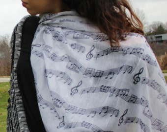 Music Scarf, White