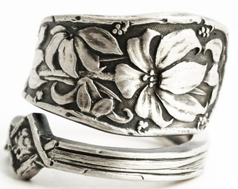 Tiger Lily Ring, Sterling Silver Spoon Ring, Lily Jewelry, Antique Durgin 1900 Bouquet, Floral Ring, Gift For Her, Custom Ring Size (6323)