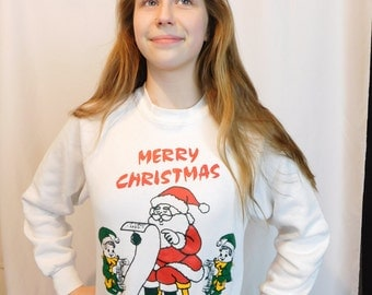 Authentic Vintage Merry Christmas Sweatshirt, Ugly Xmas Sweater, Santa And Elves