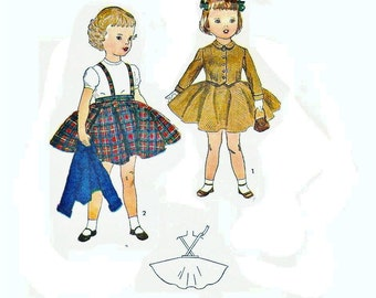 Little Girl's Circle skirt with suspenders, Jacket and Vest, Simplicity 3992, Size 2 Factory Fold