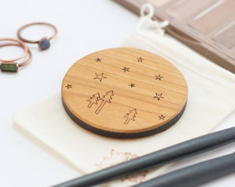Compact Mirror - Wooden Mirror - Pocket Mirror - Purse Mirror - Bridesmaid Gift - Gift for Her - Purse Mirror