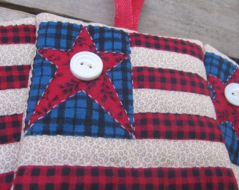 Primitive Flag Christmas Ornament, Flag Ornament, Rustic Ornament, Vintage Fabric Ornament, Hand Quilted, Tree Ornament, Stars & Stripes