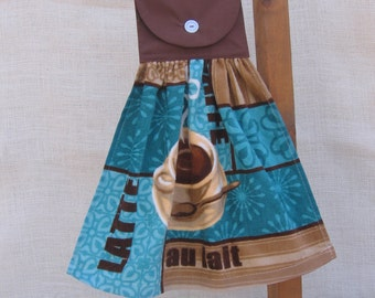 Coffee Hand Made Kitchen Towel, Flawed On Sale, Coffee Towel, Hanging Towel, Turquoise Brown Decor, Kitchen Towels, Coffee Lover Gift