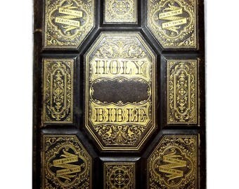 1870 Holy Bible Leather Salesmans Sample, Dore Engravings, Maps, Illustrations, Scarce Collectible, Gilt Embossed, FREE SHIPPING