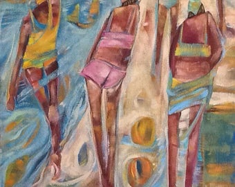 Figures on beach scene Acrylic painting 24x20 Beach Scene