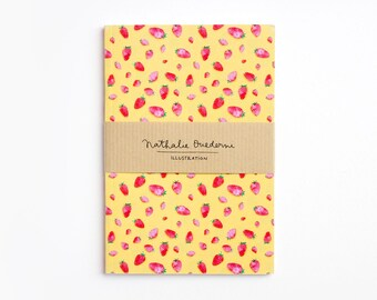 Notebook, small notebook, pocket notebook, fruit notebook, strawberry journal, pattern pocket notebook, pattern notebook, pocket journal