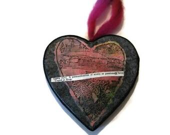 Paper Mache Heart, Heart Ornament, Paper Heart, Black Heart, Heart Collage, Dictionary Phrase, Love Ornament, Heart Love Art, Original Art