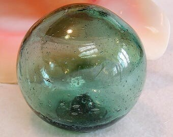 Vintage Japanese Glass Fishing Float.. Moss Green, Bubbles & Striations  (#4)