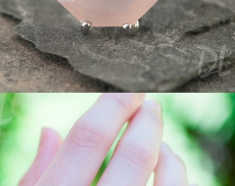 Pink Chalcedony Ring Sterling Silver, October Birthstone Ring, Pink Stone Ring, Stacking Ring, Rose Quartz Ring, Marquise Ring, Dainty Ring