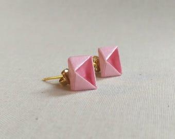 Geometric Origami Post Earrings // Light Pink Shimmer