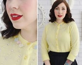 Vintage 1960s Yellow Acrylic Cardigan with Faux Pearl and Rhinestone Accents by Featherknits Size XS or Small