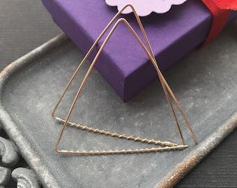 Triangle Hoop Earrings, Silver Gold Earrings, Twisted Earrings, Mixed Metal Earrings, Mixed Wire Earrings, Two Tone Earrings