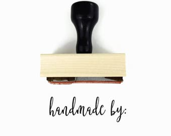 "Rubber Stamp ""handmade by"" - For the New Handmade Business Owner, Handmade With Love By Gift Stamp"
