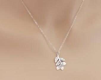 Acorn Necklace, Branch Pendant, Oak Tree Acorns, Acorn Pendant, Sterling Silver, Oak Tree Branch, BeadXS, Acorn Gift, For Her, Acorn
