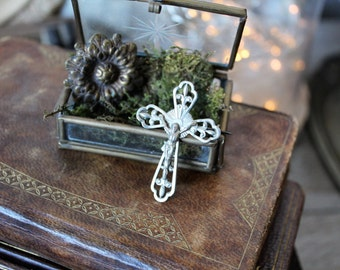 French antiques silver plated brooch 1930s cross crucifix heraldic lily catholic religious protection french country