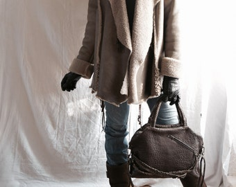 Taupe Beige Sheepskin Shearling Jacket with Woven Belt  and Decorative Knotting - Made to Order - Available in Grey also.