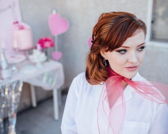 Pink Pinup Hair Scarf or Neck Scarf - 13 Colors Available - 6 each or 3 for 15 - Vintage Chiffon Scarf