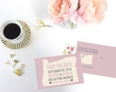 Printable Save the Date Postcard, Oregon Save the Date, Editable Save the Date, Editable Wedding Invitation, PDF Template, Modern