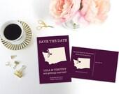Washington Save the Date Postcard, Washington Destination Wedding, Location Wedding, Wedding Map, Editable Save the Date, DIY Wedding