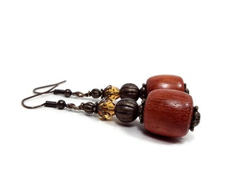 Orange Brown Drop Earrings Antiqued Brass Made with Vintage Wood Beads and Vintage Crystals Boho Womens