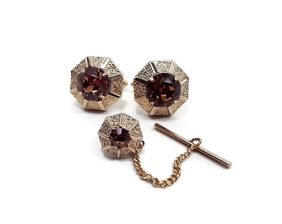 Brown rhinestone vintage mens jewelry set swank cufflinks tie for What is swank jewelry