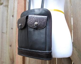 Vtg Brighton Black Leather Purse Handbag Single Strap Crossbody Shoulder Bag Boho Biker Southwestern Hipster Classic Aztec Spring Fashion