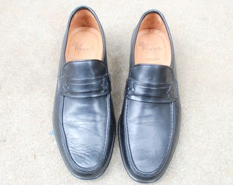 Mens 7.5d Allen Edmonds Modena Italian Slip On Black Leather Loafers Loafer Dress Shoes Brogues Oxfords Classic Wedding Shoes Mod Hipster