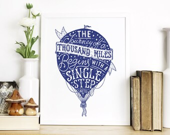 Travel Quote Screen Print – Hot Air Balloon Wall Art – Graduation Gift Print – Typography by Chatty Nora – Journey of a Thousand Miles