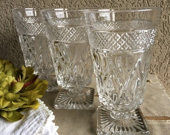 3 Vintage Cape Cod Imperial Iced Tea Glasses Clear w/ Footed Pedestal Base - #F1093