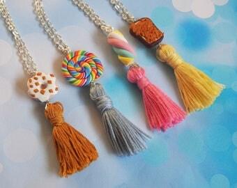 Sweet Tassel Necklace ( miniature food tassel jewelry pastel tassel necklace doughnut necklace marshmallow toast rainbow lollipop )