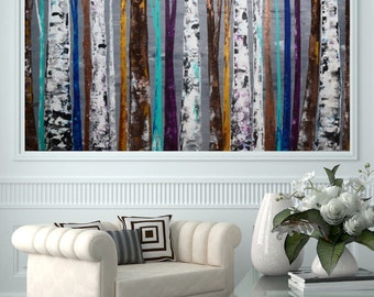 READY TO SHIP 30x48 Colorful Unique Forest Tree Painting (Aspen, Birch, Trees, Blues, Teals, Metallica, Plum, Browns)