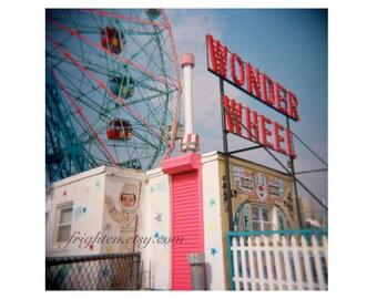 Coney Island Photography Print, Colorful Art, Wonder Wheel, Holga Photography, Brooklyn New York, Summer Art