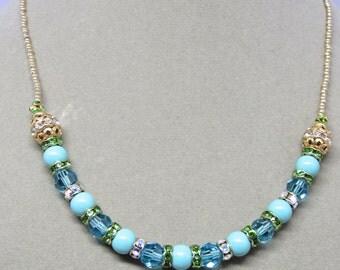 Swarovski Jade Pearls with Swarovski Aqua Crystals Necklace & Earrings