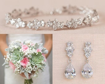 Bridal Jewelry SET, Crystal Wedding Jewelry, Rose gold Bracelet, Gold Bridal Earrings,  Kendall Jewelry SET